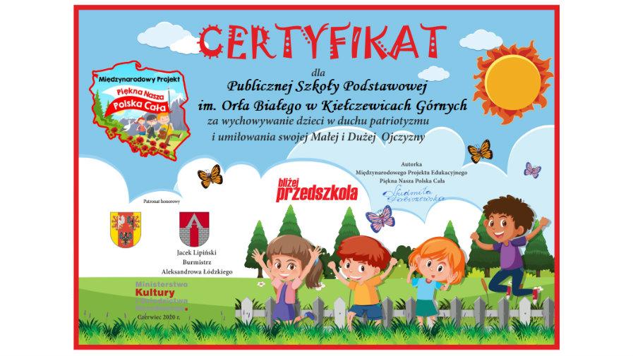 "Certyfikat ""Piękna nasza Polska cała"""