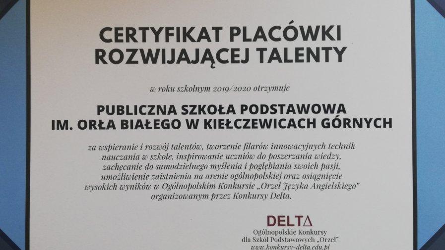 Kolejne certyfikaty dla naszej szkoły