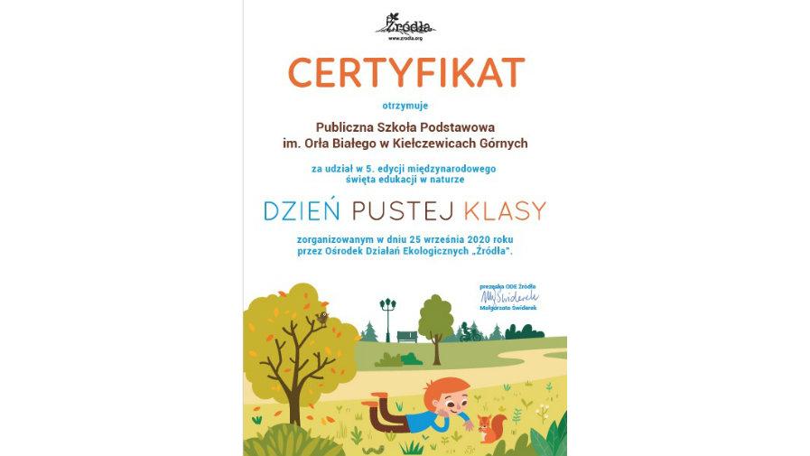Certyfikat uczestnictwa w ogólnopolskiej akcji
